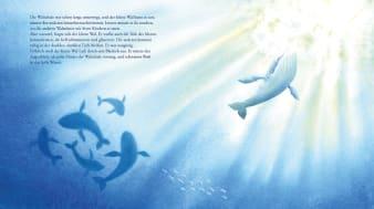 Innenansicht Doppelseite mit farbiger Illustration von Walen