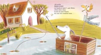 Innenansicht Doppelseite mit farbiger Illustration eines Hundes im Boot auf Wasser
