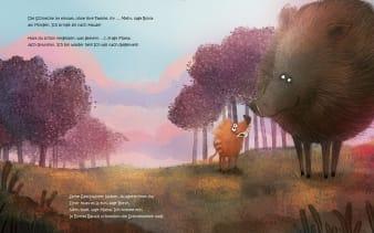 Innenansicht Doppelseite mit farbiger Illustration von Frischling mit Mama im Wald