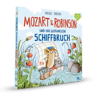 Cover Mozart und Robinson und der gefährliche Schiffbruch Bilderbuch von Gundi Herget und Nikolai Renger