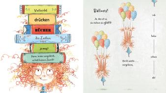 Innenansicht Doppelseite mit farbiger Illustration von Mädchen mit lockigem Haar und Büchern und Luftballons