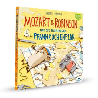 Cover Mozart und Robinson und der waghalsige Pfannkuchenplan Bilderbuch von Gundi Herget und Nikolai Renger