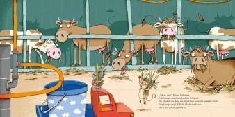 Innenansicht Doppelseite mit farbiger Illustration von Kühen und Mäusen im Stall