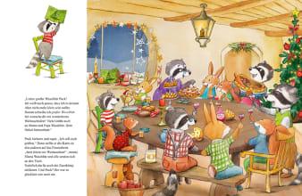 Innenansicht Doppelseite mit farbiger Illustration von Hasen, Waschbären und Eichhörnchen bei Tisch