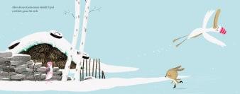 Innenansicht Doppelseite mit farbiger Illustration von Schneelandschaft mit Erpel und Ente