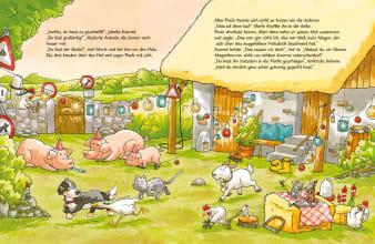 Innenansicht Doppelseite mit farbiger Illustration von Bauernhofstieren