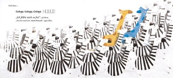 Innenansicht Doppelseite mit farbiger Illustration von Zebras und Giraffen