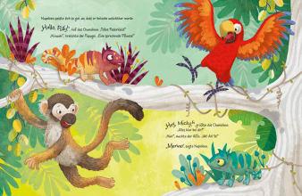 Innenansicht Doppelseite mit farbiger Illustration von Affe, Papagei und Chamäleon auf Baum