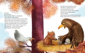 Innenansicht Doppelseite mit farbiger Illustration von Frischling und Adler im Nest auf Baum