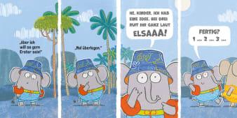 Innenansicht Doppelseite mit farbiger Illustration von Elefant