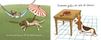 Innenansicht Doppelseite mit farbiger Illustration von Hunden im Garten und am Tisch