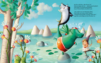 Innenansicht Doppelseite mit farbiger Illustration von Mensch, Dino und Rochen auf Wasser