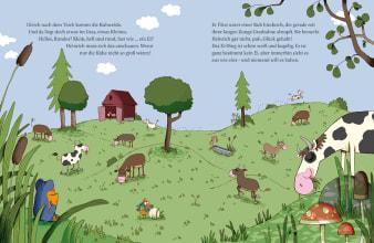 Innenansicht Doppelseite mit farbiger Illustration einer Wiese mit Bauernhoftieren