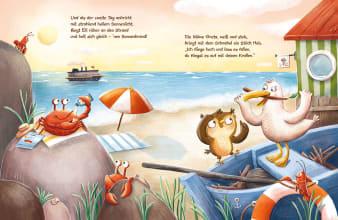 Innenansicht Doppelseite mit farbiger Illustration von Eule und Möwe am Strand