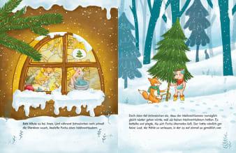 Innenansicht Doppelseite mit farbiger Illustration von Fuchs und Schwein im Haus und im Wald