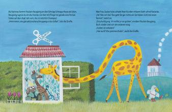 Innenansicht Doppelseite mit farbiger Illustration einer Giraffe mit Kopf im Haus