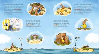 Innenansicht Doppelseite mit farbiger Illustration von Inseln mit Ratte und Kaninchen im Meer