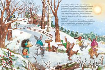 Innenansicht Doppelseite mit farbiger Illustration von Tierkindern im winterlichen Wald