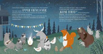 Innenansicht Doppelseite mit farbiger Illustration von Waldtieren bei Nacht
