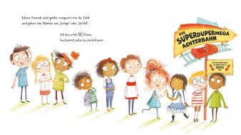 Innenansicht Doppelseite mit farbiger Illustration von Kindern in einer Schlange