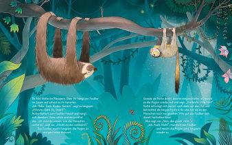 Innenansicht Doppelseite mit farbiger Illustration von Faultier und Nachtäffchen