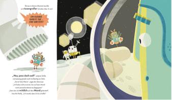 Innenansicht Doppelseite mit farbiger Illustration von Astronaut und Motte