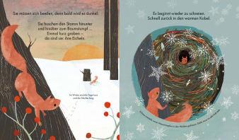 Innenansicht Doppelseite mit farbiger Illustration von Eichhörnchen im Schnee und Nest