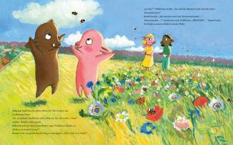 Innenansicht Doppelseite mit farbiger Illustration von zwei kleinen Schweinen auf der Wiese