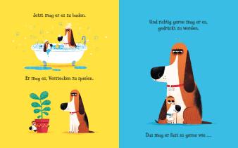 Innenansicht Doppelseite mit farbiger Illustration von Hund beim Baden und Pflanze anschauen
