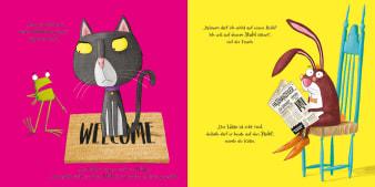 Innenansicht Doppelseite mit farbiger Illustration von Katze, Frosch und Hase
