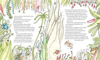 Innenansicht Doppelseite mit farbiger Illustration von Meerespflanzen und -bewohnern