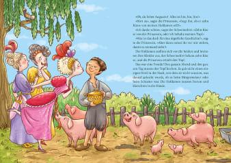 Innenansicht Doppelseite mit farbiger Illustration von drei Hofdamen und Junge mit Schweinen