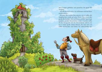 Innenansicht Doppelseite mit farbiger Illustration von Ritter mit Pferd und Hund vor Turm