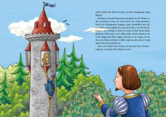 Innenansicht Doppelseite mit farbiger Illustration von Ritter vor Turm mit Prinzessin mit langen Haaren