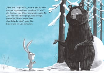 Innenansicht Doppelseite mit farbiger Illustration von Bär und Hase