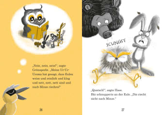 Innenansicht Doppelseite mit farbiger Illustration von lesender Eule, Bär und Hase