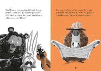 Innenansicht Doppelseite mit farbiger Illustration von Bär, Hase und Biber