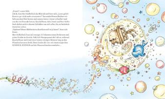Innenansicht Doppelseite mit farbiger Illustration von Unterwasserstrudel mit Meeresbewohnern