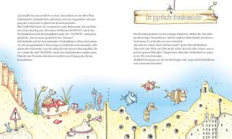Innenansicht Doppelseite mit farbiger Illustration einer Unterwasserwelt