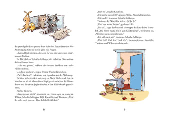 Innenansicht Doppelseite mit farbiger Illustration von Stofftieren und Mädchen