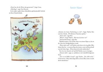 Innenansicht Doppelseite mit farbiger Illustration einer Europakarte mit Tieren darauf