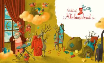 Innenansicht Doppelseite mit farbiger Illustration vom Nikolaus im Haus mit Rentieren und Elfen