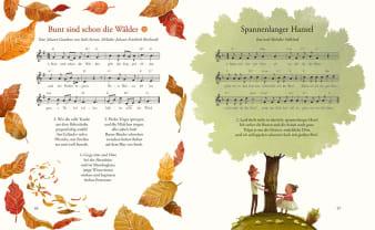 Innenansicht Doppelseite mit farbiger Illustration eines Baums und Blätter