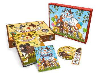 Innenansicht Box mit Haferhorde Band1 Bilderrahmen Rätselheft Audio-CD und Lesezeichen