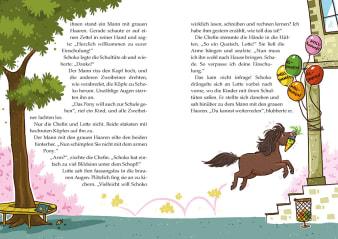 Innenansicht Doppelseite mit farbiger Illustration von Pony mit Schultüte
