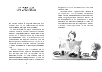 Innenansicht Doppelseite mit schwarz-weißer Illustration von Papa und Kind am Esstisch