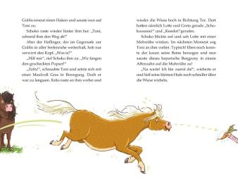 Innenansicht Doppelseite mit farbiger Illustration von Ponys und einer Karotte am ausgestreckten Arm