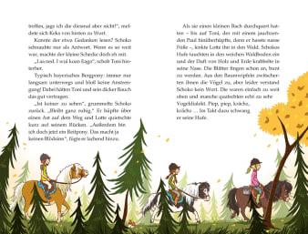 Innenansicht Doppelseite mit farbiger Illustration von reitenden Kindern im Wald