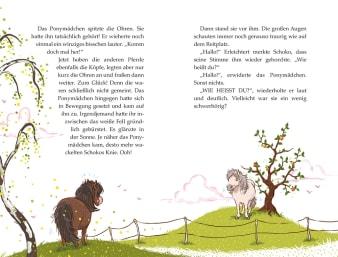Innenansicht Doppelseite mit farbiger Illustration von zwei gegenüberstehenden Ponys getrennt durch Zaun