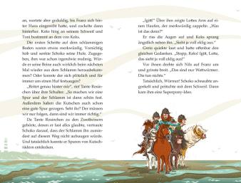 Innenansicht Doppelseite mit farbiger Illustration von Reitern auf Ponys bei Ebbe